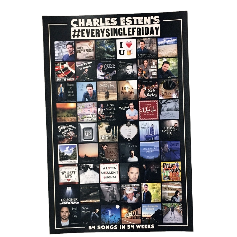 Charles Esten AUTOGRAPHED 54 Songs Poster